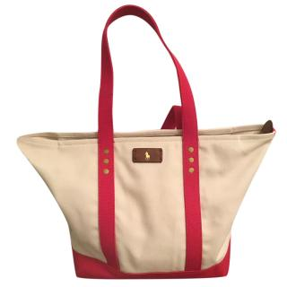 Polo Ralph Lauren Ivory & Pink Canvas Shopper Tote