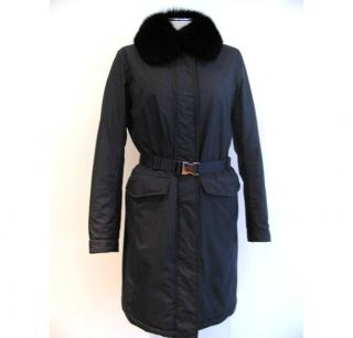 Prada fox fur collar coat