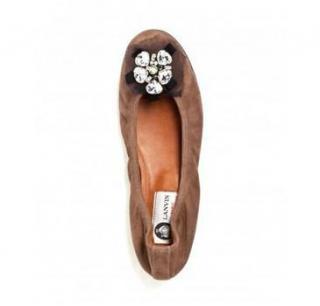 a6ce916feef Lanvin Goatskin and Strass Ballerina Flats
