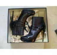 GINA BLACK PATENT/LEATHER ANKLE BOOTS