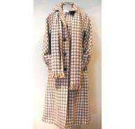 Aquascutum light beige checked long coat