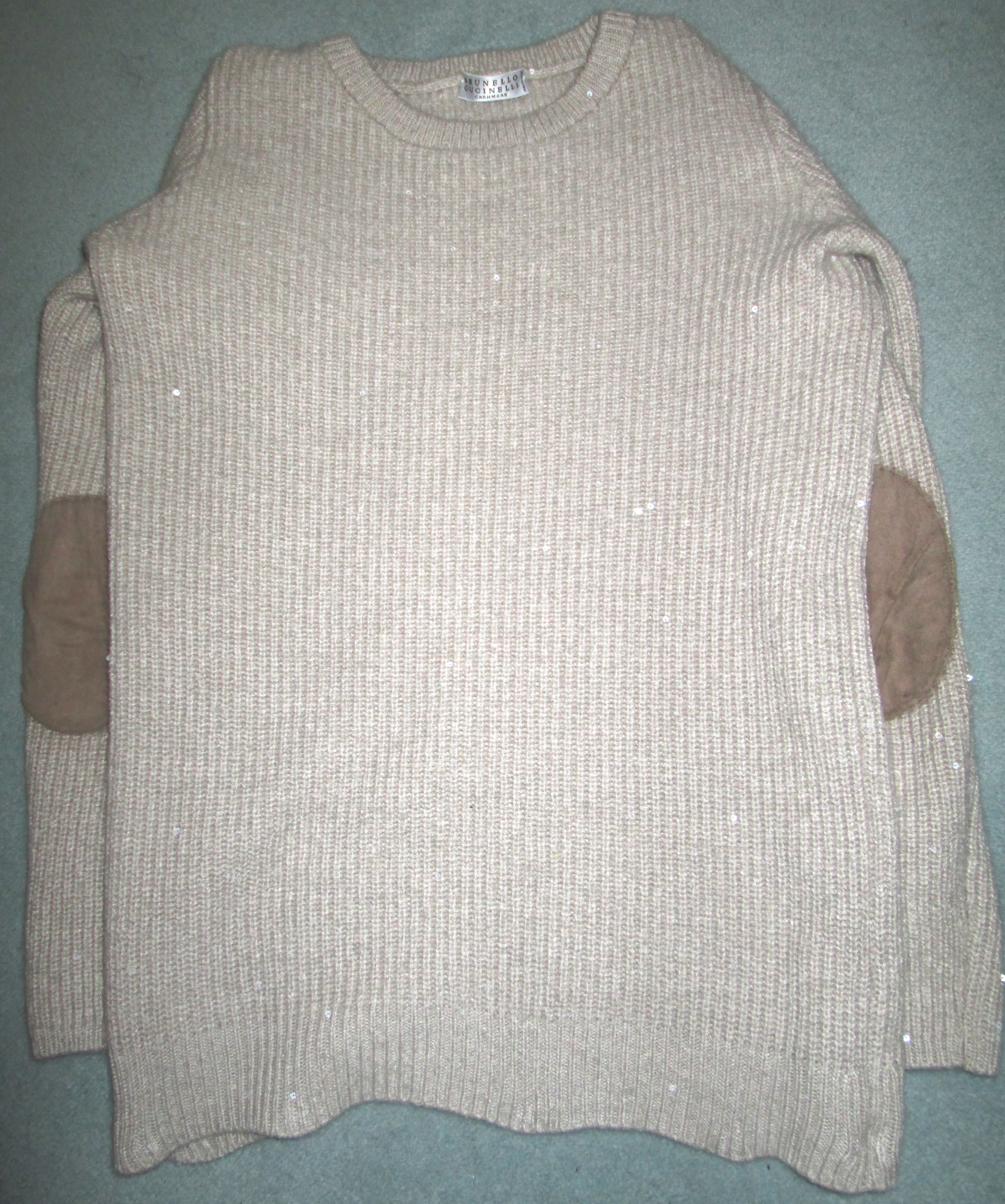Brunello Cucinelli Cashmere and Silk Jumper with suede elbow pads