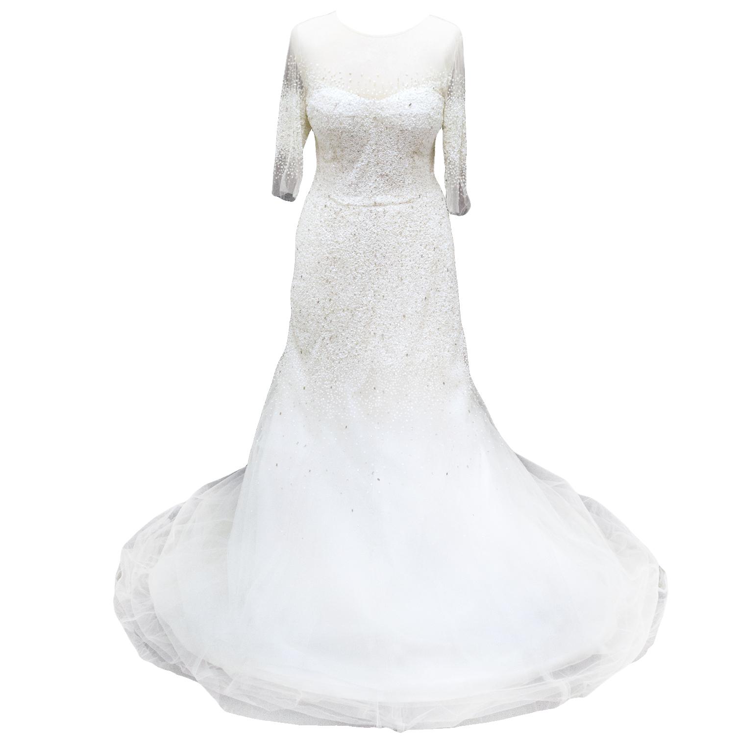 Monique Lhullier Custom Made Embellished Wedding Dress Part 1/2
