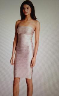 Herve Leger Pink Metallic Bandage Dress - BRAND NEW
