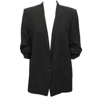 Helmut Lang Black Slouch ruched-sleeve blazer