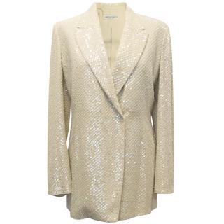 Alberta Ferretti cream tuxedo jacquard jacket