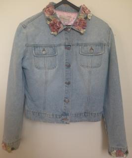 Blumarine denim jacket with embellished collar