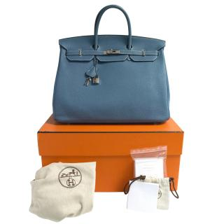 Limited Edition Hermes Birkin blue jeans 40cm