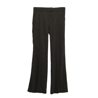 Theory brown linen blend trousers