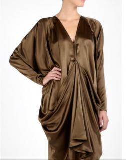By Malene Birger Green Khaki Draped Hilis Dress