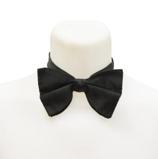 Contemporary black satin bow tie