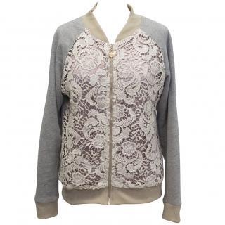 Miss Patina lace zipped jersey top