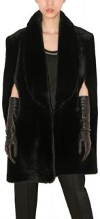 NEW Yves Saint Laurent shearling and leather cape