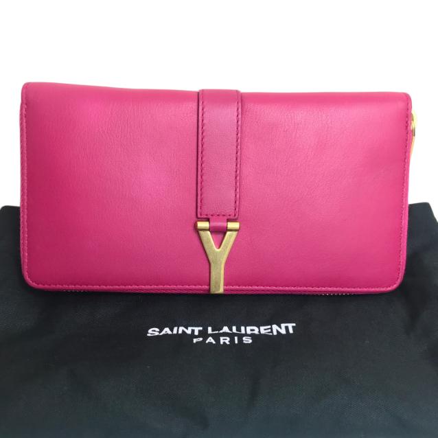 Saint Laurent Vermillion Fuchsia Leather Zip Around Y Wallet