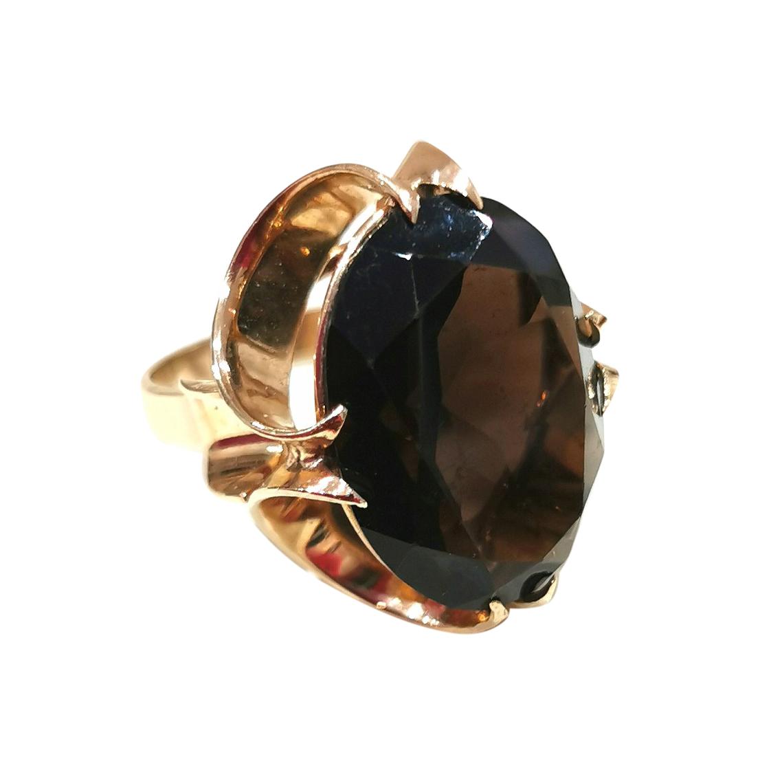 Bespoke vintage 17 carat natural chocolate Topaz ring