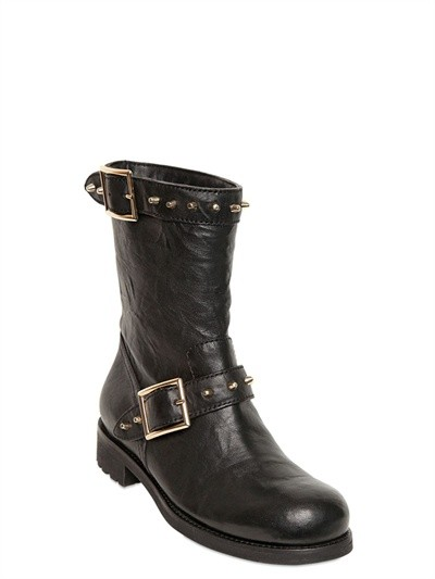 Jimmy Choo Black Leather Buckle And Stud Detail Boots