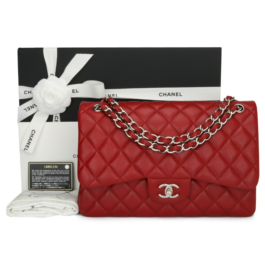Chanel Red Quilted Caviar Leather Double Flap Jumbo Bag