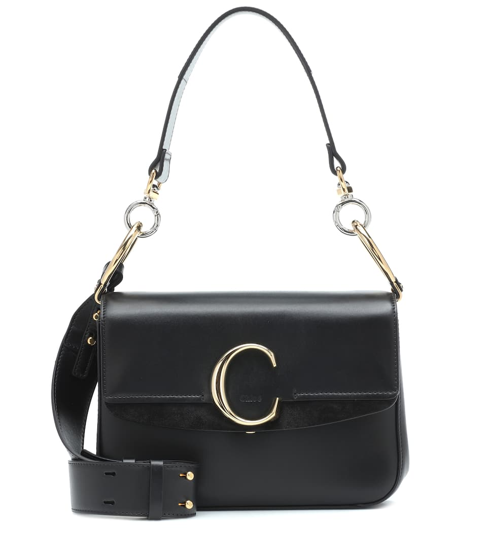 Chloe C small black leather bag
