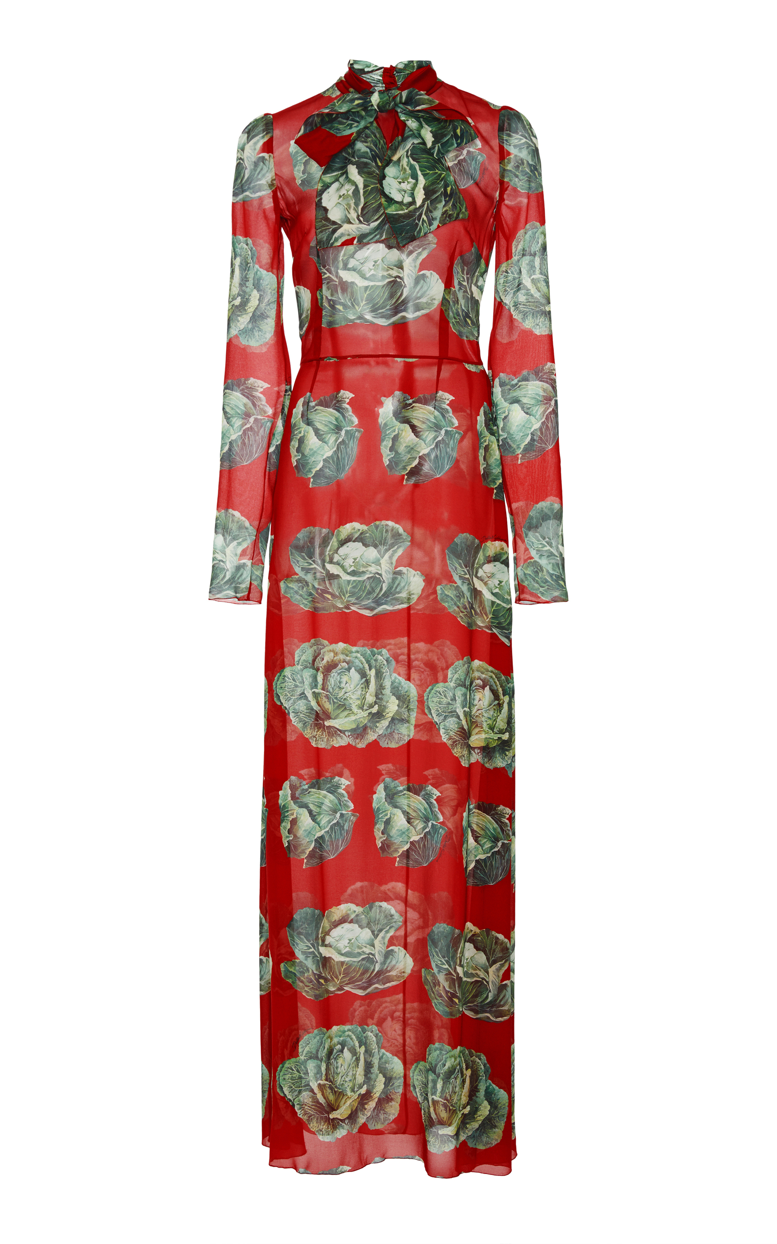 Dolce & Gabbana Red Cabbage Print Gown/Maxi Dress