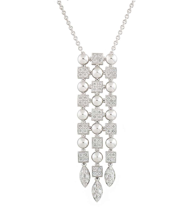 Bvlgari White Gold Diamond Waterfall Pendant Drop Necklace