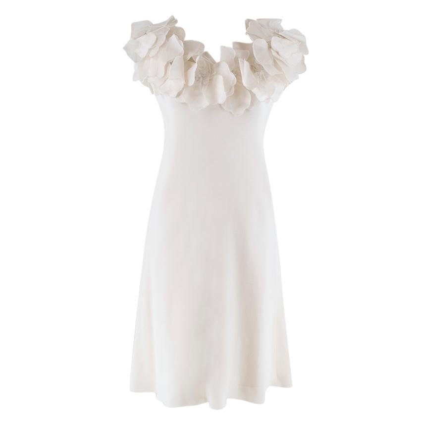 Marchesa White Floral Embellished Dress