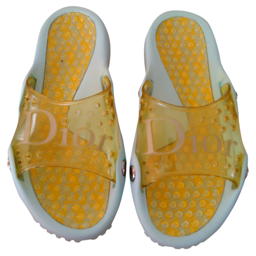 Dior Turquoise & Yellow Pool Slides