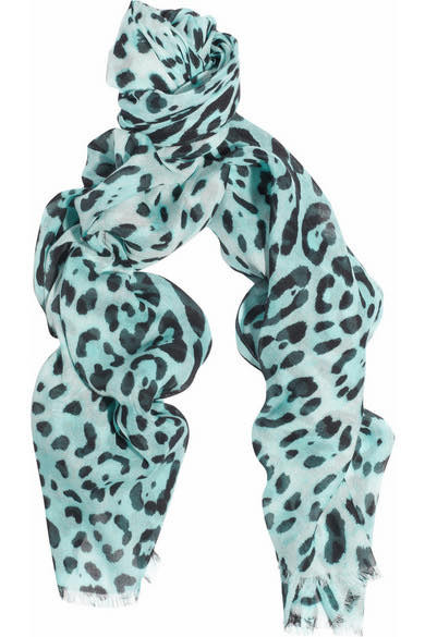 Dolce & Gabbana Turquoise Leopard Print Sheer Scarf