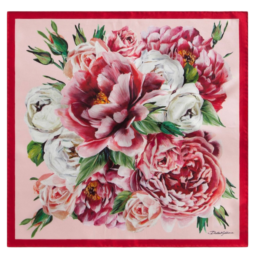 Dolce & Gabbana Pink Floral Print Silk Scarf