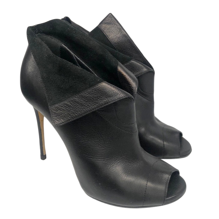 Casadei Black Leather Foldover Ankle Boots