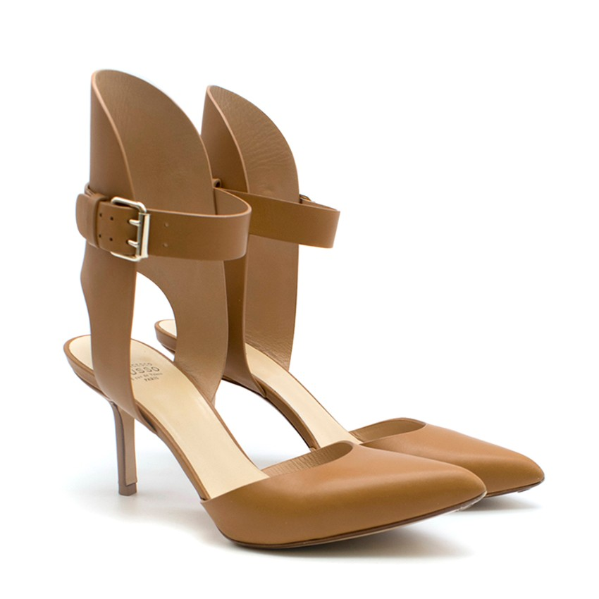 Francesco Russo Tan Open Back Ankle Strap Sandals