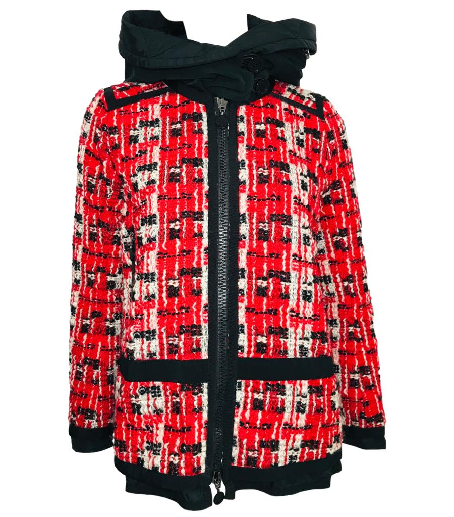 Moncler Red & White Tweed Coat