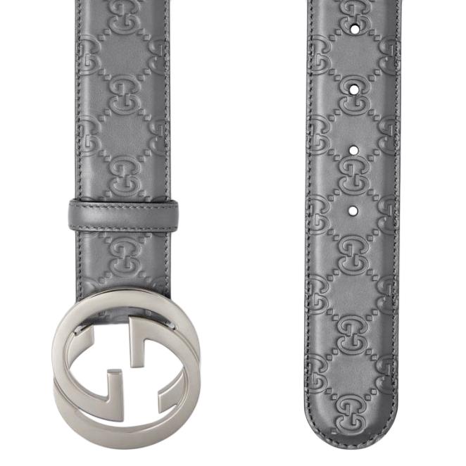 Gucci Grey Monogram Leather Belt