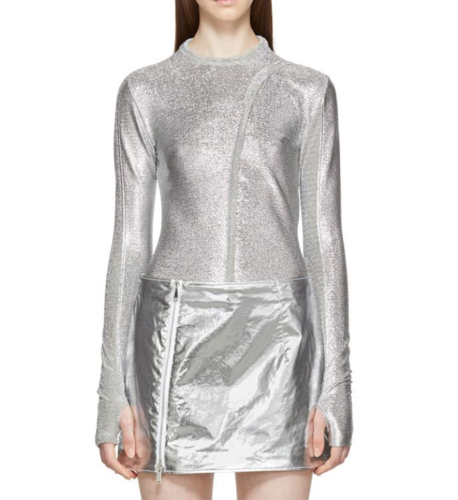 Paco Rabanne stretch silver metallic top