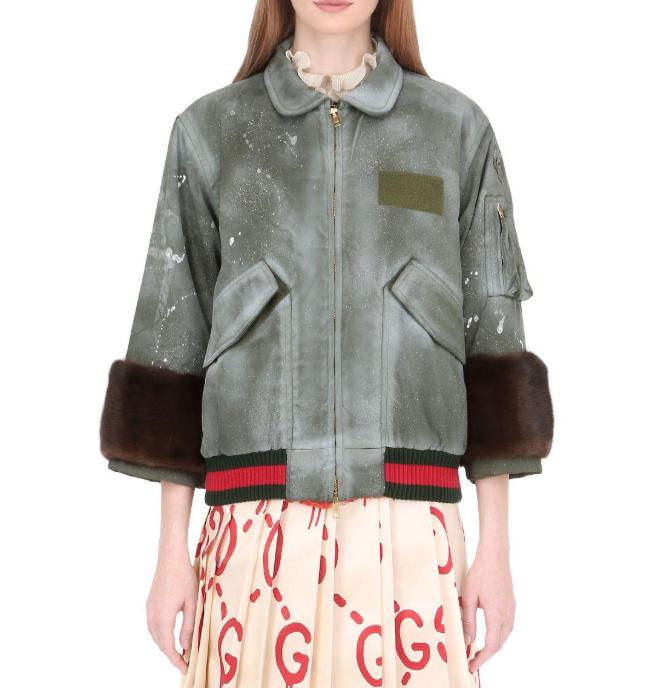 Gucci Khaki Spray Painted Bomber Jacket W/ Mink Fur Cuffs