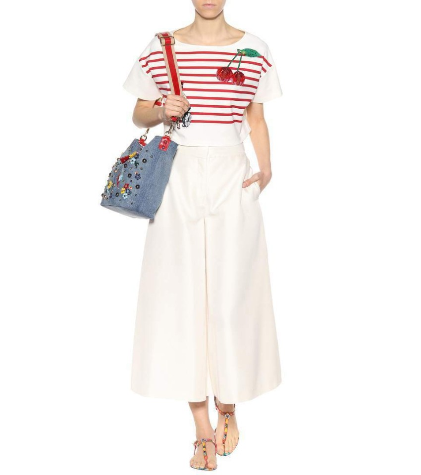 Dolce & Gabbana Cropped Striped Cherry Embellished Crop Top