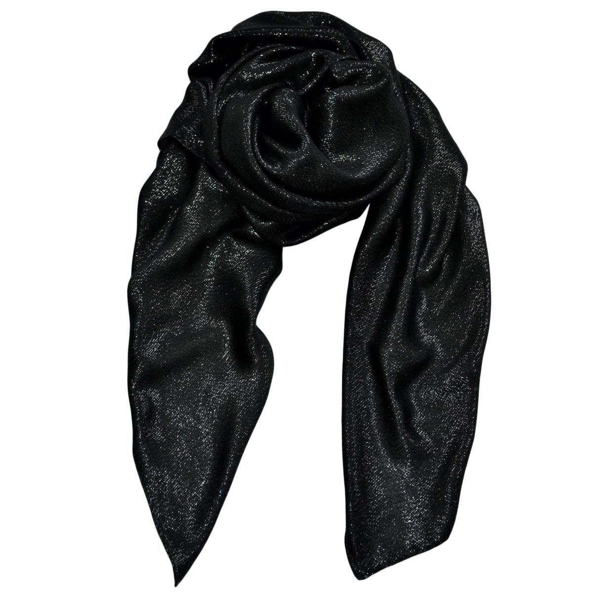 Saint Laurent black metallic cashmere blend scarf