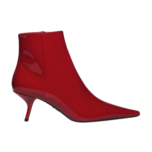 Prada Kitten Heel Red Patent Leather Ankle Boots