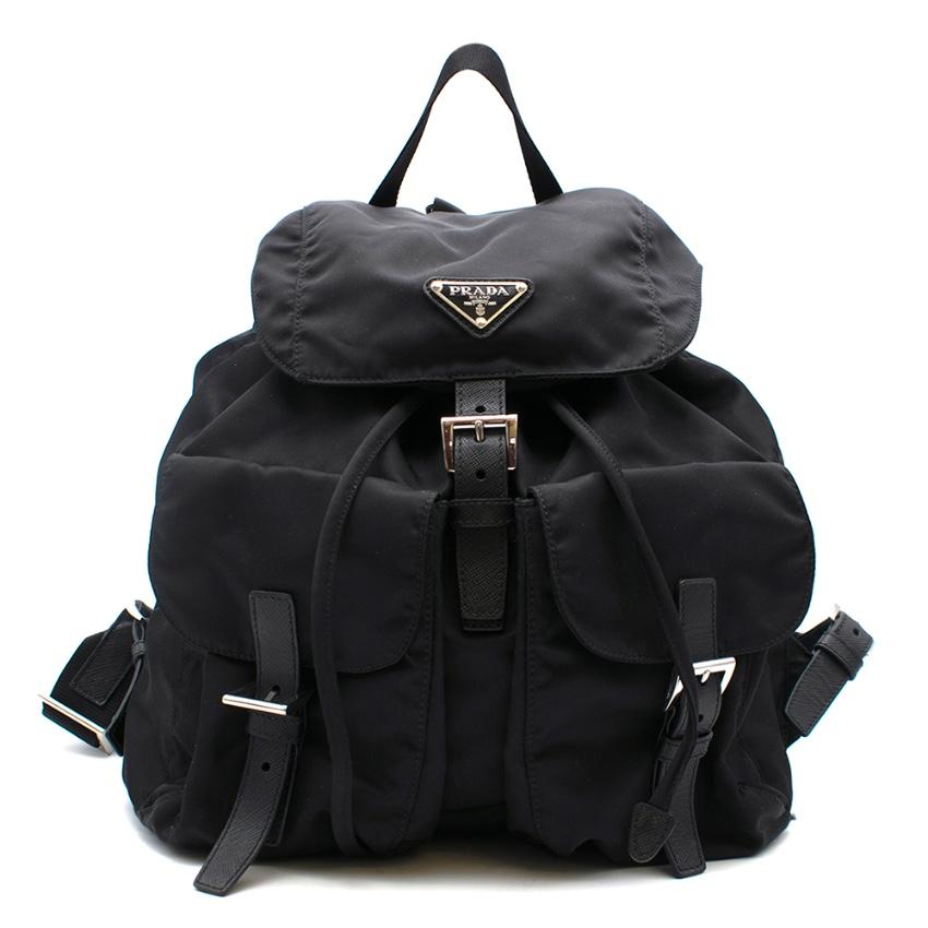 Prada Medium Nylon Backpack in Black