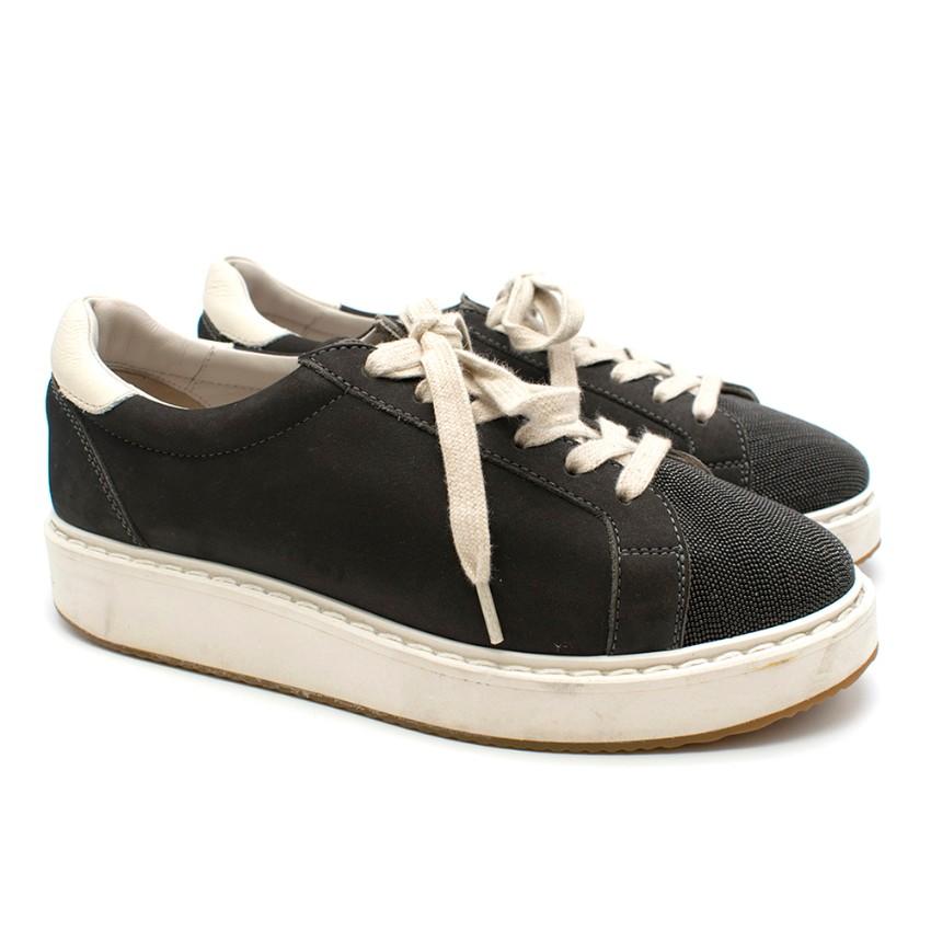 Brunello Cucinelli Grey Suede Sneakers