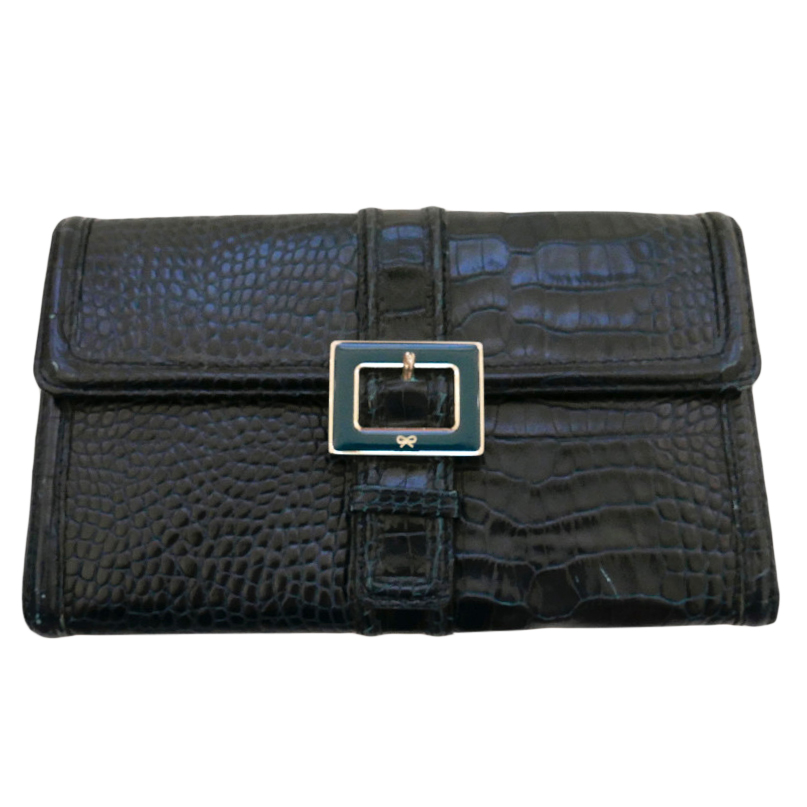 Anya HIndmarch Green Croc Embossed Patent Wallet