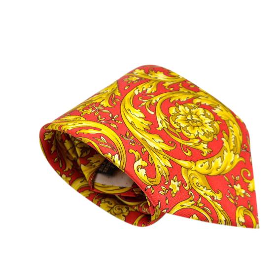 Versace Red & Gold Silk Baroque Floral Print Tie