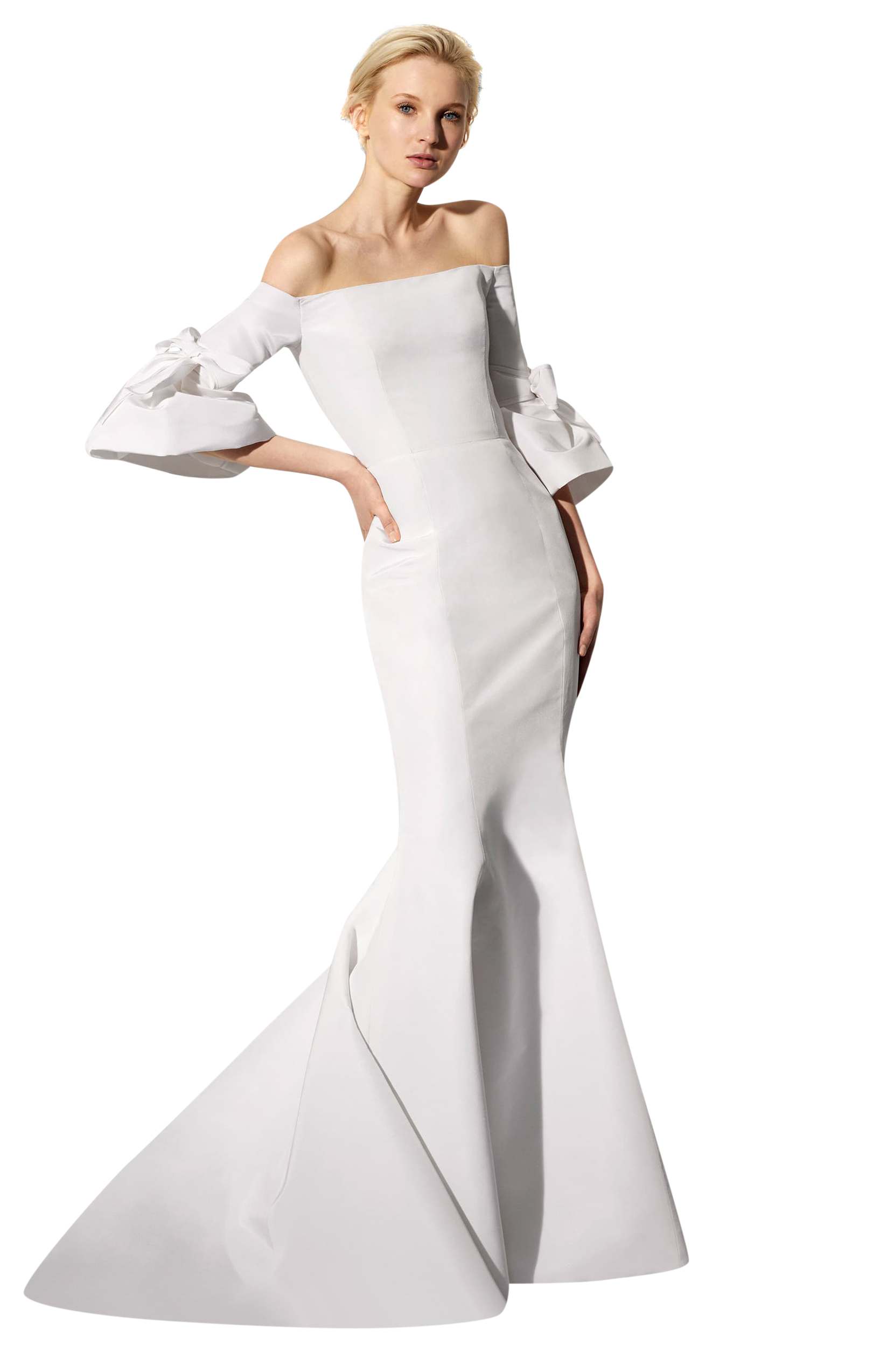 Carolina Herrera Faye Off The Shoulder Silk Faille Mermaid Gown