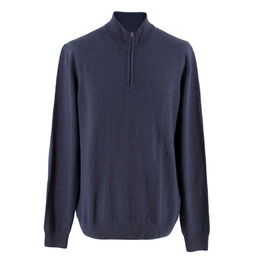 Hackett Navy Blue Zip-Neck Sweater