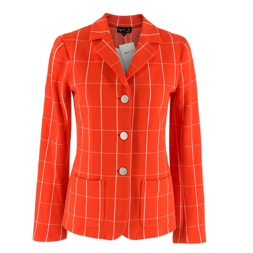 Agnes B Red Check Unlined Blazer