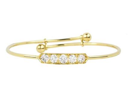 Bespoke Yellow Gold Diamond Set Childrens Bangle