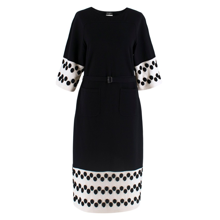 Chanel Black & White Wool Knit Dress With Spotted Cuffs & Hem