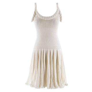 Alaia White  Ribbed Knitted Dress