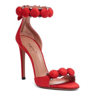 Alaia Red Suede Bombe Sandals