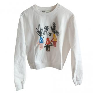 Off White long sleeved embroidered WOMAN sweatshirt