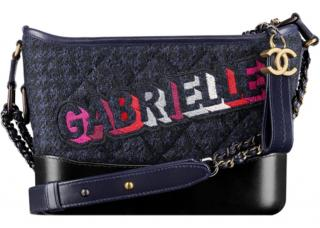 Chanel Blue Leather and tweed Gabrielle Bag - embroidered Gabrielle